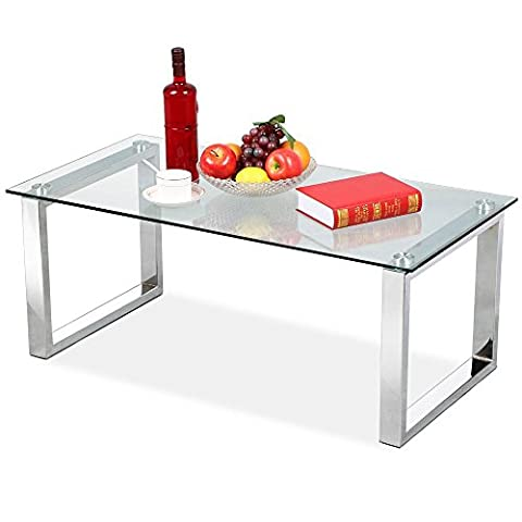 Yaheetech Living Room Modern Glass Top Coffee Tables Metal Base Glass Side End Table with Stainless Steels Legs