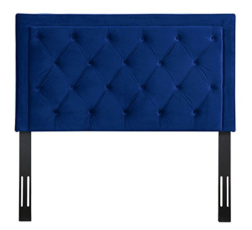 TOV Furniture The Nacht Collection Tufted Upholstered Wood & Metal Headboard, Full Size, Navy Blue (Velvet Headboard Navy)