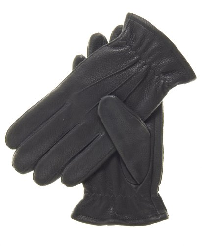 Pratt and Hart Men's Deerskin Winter Gloves with Thinsulate Lining Size M Color Black -