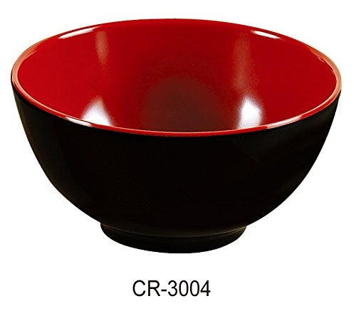 (Yanco CR-3004 Black and Red Two-Tone Nanjing Bowl, 8 oz Capacity, 4.5