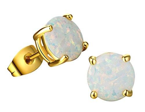 Round Created Opal Stud Earrings 18K Yellow Gold Plated Earrings Birthstone for Women Girls (8mm) (18ct Yellow Gold Opal Earrings)