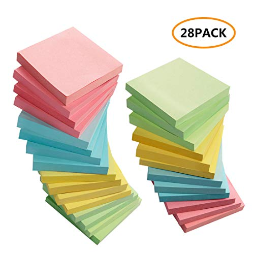 Sticky Notes 3x3 Inches, 28 Pack Colored Self-Sticky Notes Pad, 100 Sheets/Pad, 4 Colors