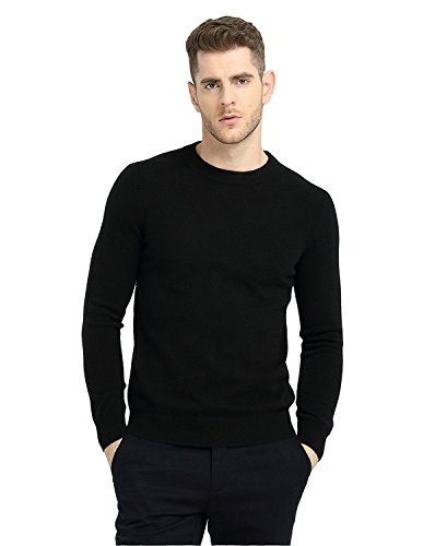 MIUK 2017 New Mens 100% Cashmere Basic Sweater Round Neck Simple Warm Pullovers Black - Expensive Most Mens Brands
