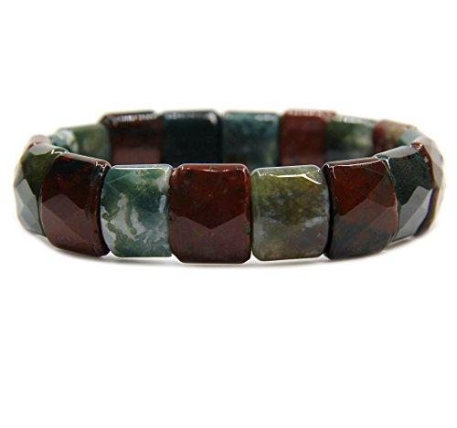 "Natural India Agate Genuine Semi Precious Gemstone 15mm Square Grain Faceted Beaded Stretchable Bracelet 7"""