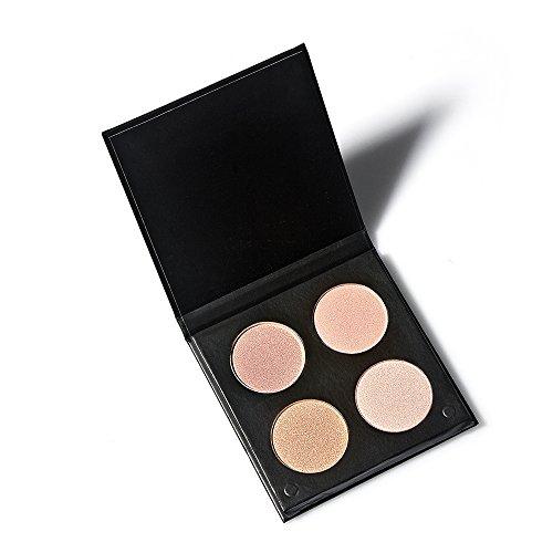 Tanali Contour Highlighter Powder Palette -4 Color Matte Glitter Foundation Face Makeup Compact Set (#2)