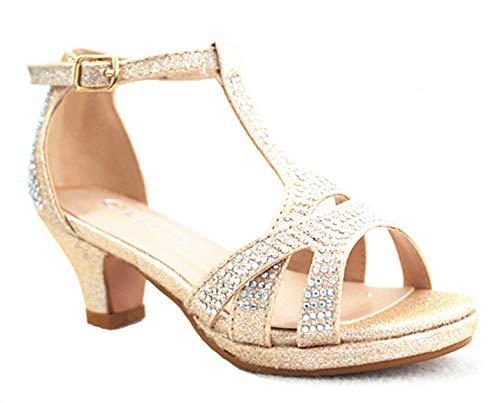 Link SF Riley-79K Girls Youth Pageant Jewel Rhine Stone Mary Jane High Heel Dress Shoes (13 M US, Champagne-56k)
