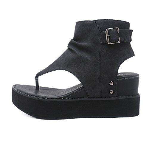 Haut Black Femmes Augmentation Fond Clip Toe d'été Sandales Hauteur Sandals en Talon Wedge épais EUFqEOaW