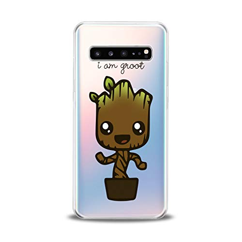 Lex Altern TPU Case for Samsung Galaxy s10 5G Plus 10e Note 9 s9 s8 s7 Clear Groot Cute Silicone Guardians of Galaxy Superhero Cover Kawaii Protective Movie Flexible Avengers Girls Boy Transparent