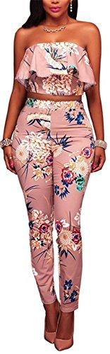 Speedle Women's Sexy Strapless Ruffle Bandeaux Top Floral Print Bodycon Pants Jumpsuit Set Pink M (Floral 2 Pink Piece)