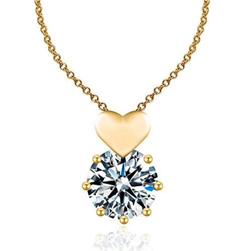 18k Gold Plated Heart Cubic Zirconia Pendant Choker Necklace ONLY LOVE Sets