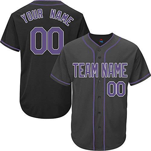 YNMYS Black Custom Baseball Jersey for Men Women Kids Full Button Mesh Embroidered Team Name & Numbers S-5XL