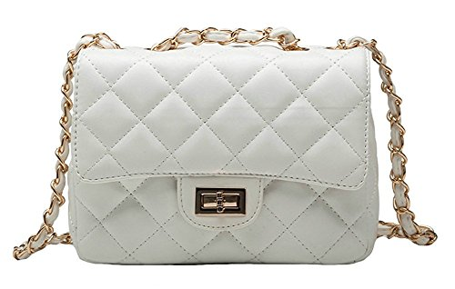 Chain Quilted Handbag (Kipten Women's Leather Fashion Handbag Quilted Chain Bag Shoulder Bag-White)