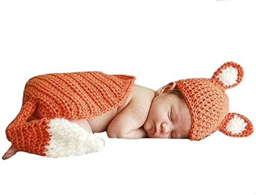 [CX-Queen Baby Photography Prop Crochet Fox Hat Cape Outfit] (Fox Hat Costume)