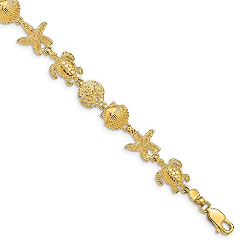 14k Yellow Gold Turtle Sand Dollar Sea Star Starfish Shell Mermaid Nautical Jewelry 7.25in Link Bracelet 7.25 Inch Seashore Fine Jewelry Gifts For Women For Her ()
