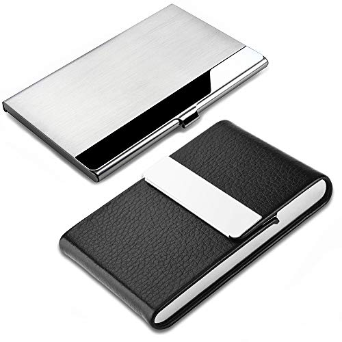 (2 Pcs Professional Business Card Case, SENHAI Stainless Steel & PU Leather Business Card Holder with Magnetic Shut Pocket Name Credit ID Card Case for Men and)