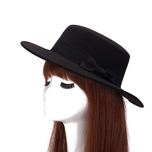 Women Felt Wide Brim Fedora Hat Wool Flat Top Hat Lady Pork Pie Bowler Gambler Top Hat,7