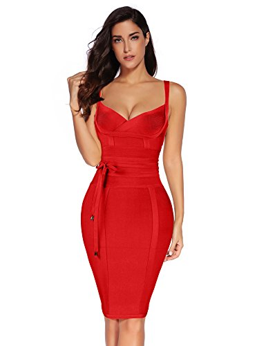 Meilun Womens Rayon Belt Detail Bandage Bodycon Party Dress (M, Red)