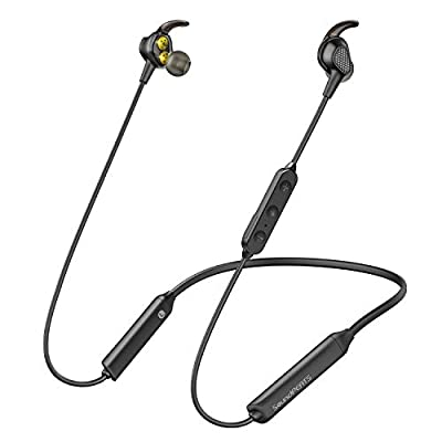 SoundPEATS Engine Wireless Headphone, in-Ear Earbuds Dual Dynamic Drivers Earphones with Mic and Volume Control, IPX6 Sweatproof, 13Hour Playtime Headset for Smartphones Computer PC Tablet(Black)