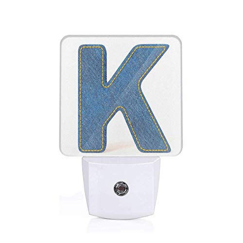 (Colorful Plug in Night,Alphabet Font Denim Style Blue Jean Texture Capitalized Character K Illustration,Auto Sensor LED Dusk to Dawn Night Light Plug in Indoor for Childs Adults )