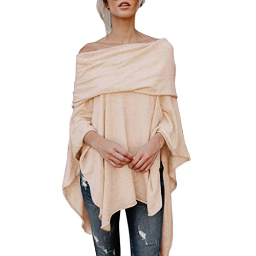 Drape Neck Long Sleeve - Women Long Sleeve,Kstare Fashion Womens Off The Shoulder Shirt Tops Irregular Casual Tops Blouse (Beige, XL)