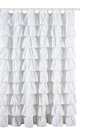 Ruffled White Fabric Shower Curtain by spring Home