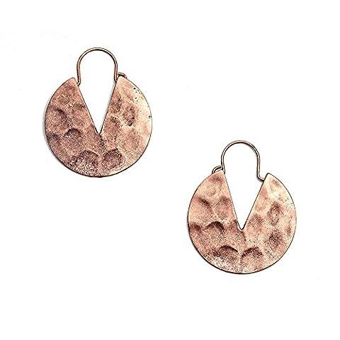 Women's Brass Gold Tone Round Hammered Effect Dangle Hoop Earrings DE051-01 - Hammered Round Hoop