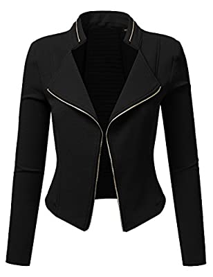 Doublju Stretchy Ladder Cut Out Open Front Jacket For Women