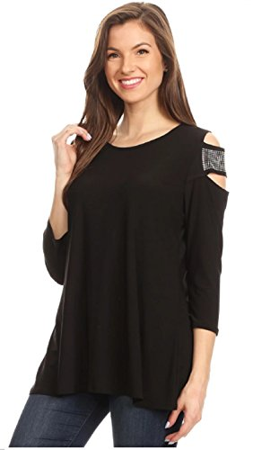 Love My Seamless Women's Solid Relaxed Fit Fashion Cold Shoulder Tunic top Rhinestones 3/4 Sleeve (S)