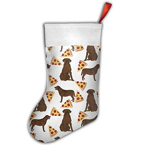 KSSChr Chocolate Labrador Pizza Christmas Stockings Gift Card Bags Holders,Bulk Personalized Treats for Neighbors Coworkers Kids Cats Dogs,Small Rustic Felt Red Xmas Tree Decorations Set