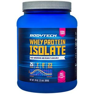 Body Fruity - BodyTech Whey Protein Isolate Powder with 25 Grams of Protein per Serving BCAA's Ideal for Post Workout Muscle Building and Growth, Contains Milk and Soy, Fruity Cereal Flavor (1.5 Pounds)