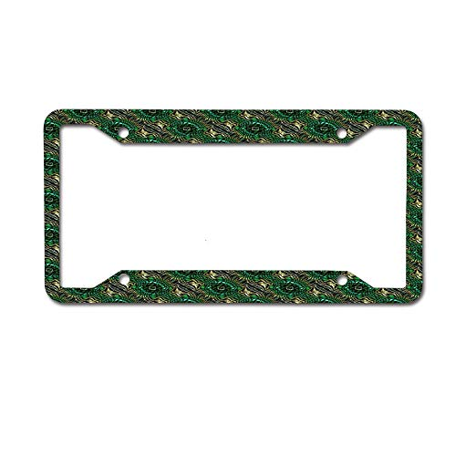 (HappyToiletLidCoverX Green Goddess Personalized License Plate Frame Art etc.Any State/Any Theme 4 Holes)