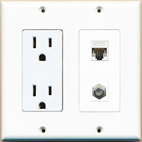 RiteAV - 2 x 15 Amp 125V Power Outlets 1 Cat5e Ethernet and 1 Coax Wall (Cat5e Wall Outlets)