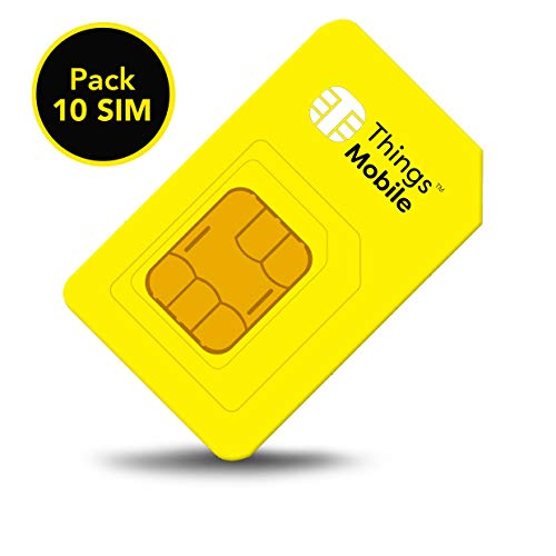 Pack 10 Things Mobile Prepaid SIM Cards for IOT and M2M with Global Coverage without fixed costs. Ideal for Home Automation, GPS Tracker, Telemetry, Alarms, Smart City, Automotive. Credit not included