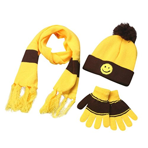 3 Pcs Winter Warm Set Boys Girls Wool Blends Scarf + Smile Hat +Mittens For Baby (Yellow)