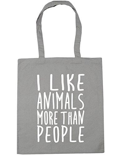 HippoWarehouse bolsa al hombro, para la compra, bolsa de playa con mensaje en inglés I like animals more than people, 42cm x 38cm, 10litros gris claro