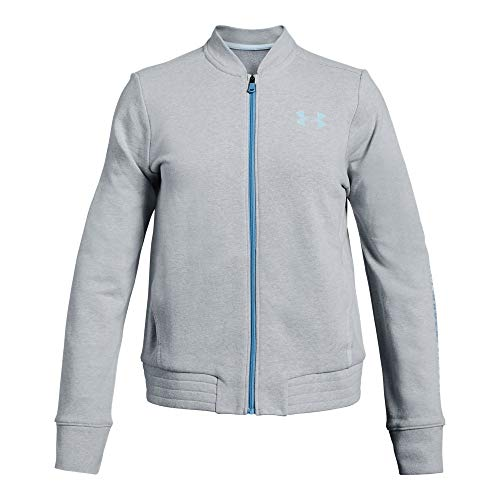 Under Armour Rival Terry Track Jacket, Mod Gray Light Heather//Coded Blue, Youth Small ()