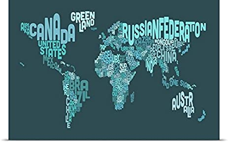 Amazon.com: Country Names World Map, Teal Poster Print: Posters & Prints