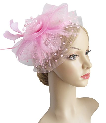 Flower Cocktail Tea Party Headwear Feather Fascinators Top Hat for Girls and Women (Pink)