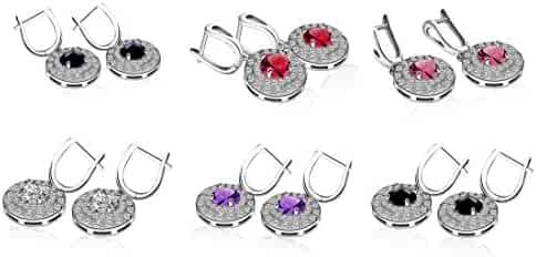 85bf959a5b2ac4 Lucky Dora Women's Platinum White Gold Plated Round-Cut Halo Drop Dangle  Earrings with Cubic