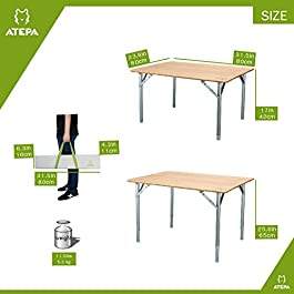 ATEPA Bamboo Folding Table With Carrying Bag, 4-Fold Heavy Duty Adjustable Height Aluminum Camping Table, Compact Lightweight Portable Outdoor Picnic Table, 31.5 × 23.6× 17-25.6 Inches, 11.5Lbs