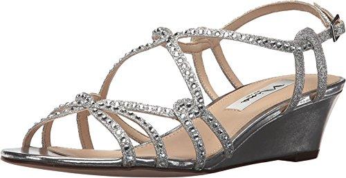 NINA FILONA Wedge Sandals Silver Gitter -