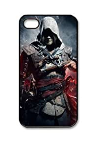 Assassins Creed IV Black Flag Design Iphone 4/4S Black Sides Hard Shell PC Case by eeMuse