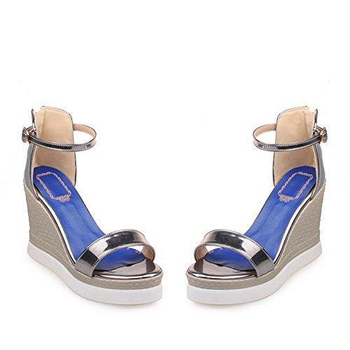 AgooLar Women's Buckle PU Open Toe High-Heels Solid Sandals with Wrist Strap Gray 8WfsTKw7