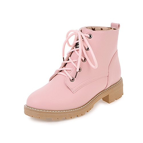 AgooLar Women's Round-Toe Lace-up PU Solid Low-Heels Boots Pink jXZiCDY
