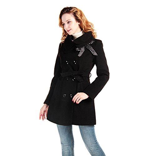 Lanhuacao Women Wool Blends Coat Slim Trench Winter Coat L Black