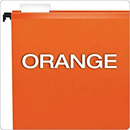 Pendaflex SureHook Reinforced Hanging Folders, Letter Size, Orange, 20 per Box (6152 1/5 ORA)