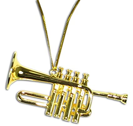 Christmas Trumpet Images.Miniature Brass High Trumpet Christmas Ornament 2 5