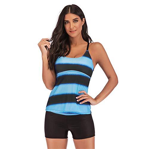 Thenxin Women's Sports Swimwear Tankini Two Pieces Bathing Suits Stripes Tank Top with Boardshort(Blue,XXXXL)