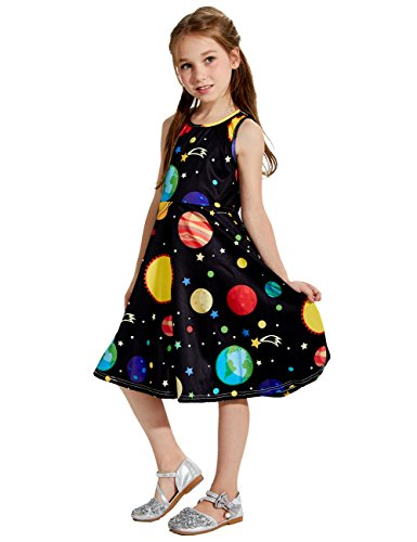 Uideazone Little Girls Cute Print Planet Knee Length Sleeveless Dress Black 4-5 Years
