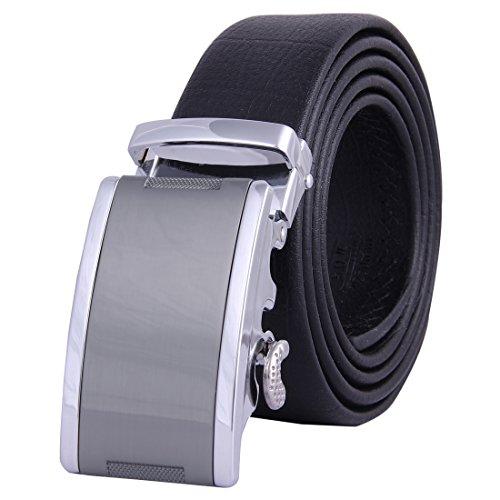 [JINIU Men's Leather Belt Automatic Buckle 35mm Ratchet Dress Black Belts Boxed FG5] (Arms Belt Buckle)